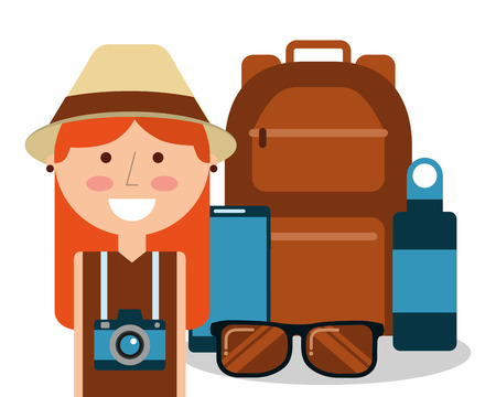 cute happy woman tourist vacation equipment vector illustration Illusztráció
