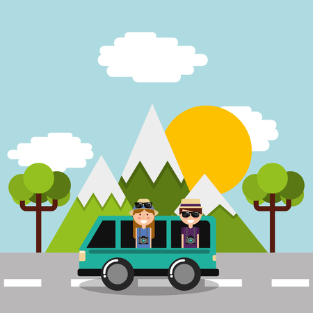 couple tourist vacations in car van on road mountains tree vector illustration