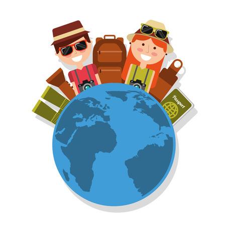 Couple with world travel vacations baggage passport binoculars vector illustration Stock Illustratie