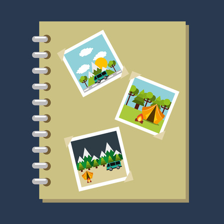 photo album gallery travel vacations vector illustration 向量圖像