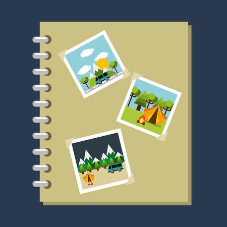 photo album gallery travel vacations vector illustration Illustration