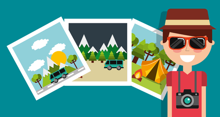 Smiling man travel vacation camera photo gallery vector illustration