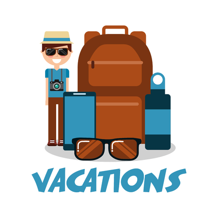 vacations man sunglasses backpack bottle and mobile vector illustration