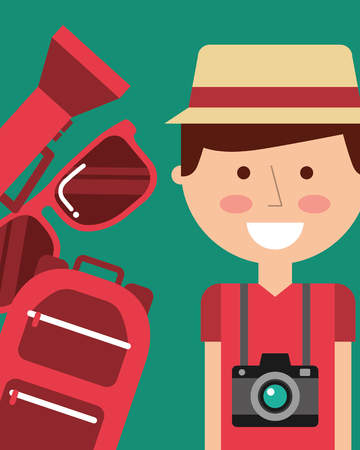 portrait happy man vacations backpack sunglasses and lantern vector illustration