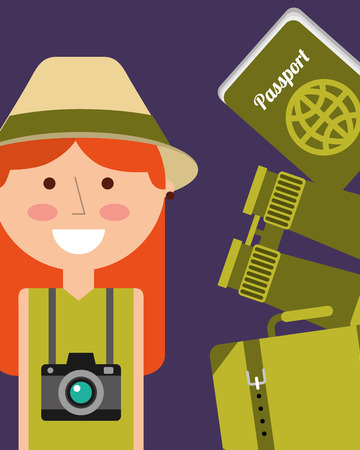 portrait happy woman vacations passport binoculars and suitcase vector illustration