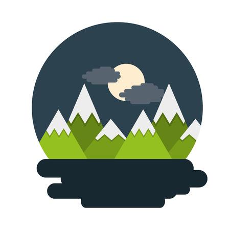 Mountains landscape night moon cloud scene vector illustration