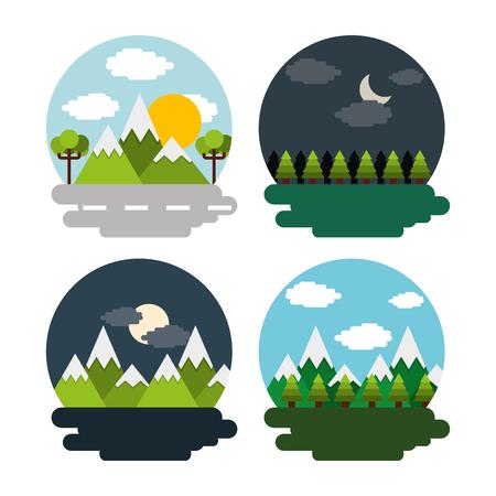 風景のセット昼夜山の森のベクトルイラスト