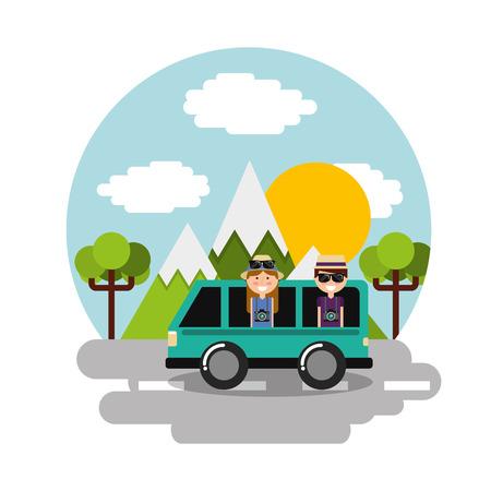 Happy couple travelers vacation in car van mountains landscape scene vector illustration Illustration