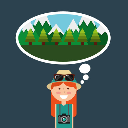 Happy tourist woman travelers vacations thinking mountains forest vector illustration