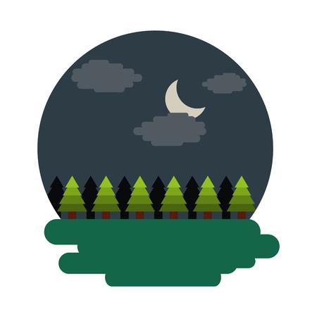 Forest tree natural theme scene night landscape vector illustration Ilustração