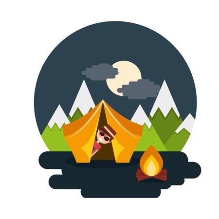 Man travelers vacation on tent camping bonfire night landscape vector illustration