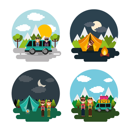 Collection vacations scenes couple tourist different landscape vector illustration