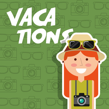Happy young woman with hat camera vacations green background vector illustration