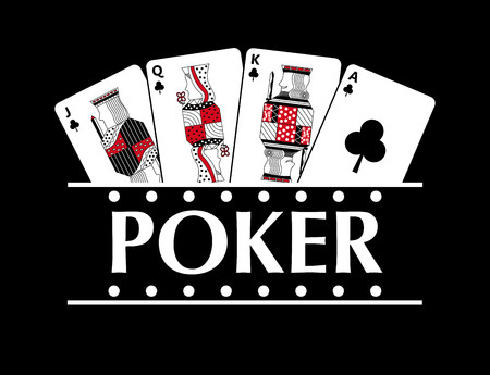 Four playing clubs cards poker banner black background vector illustration