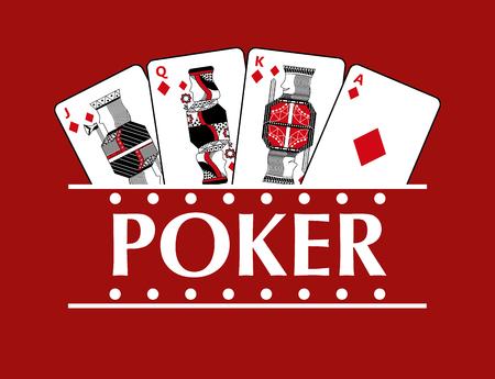 Quatre cartes de jeu de poker ballon poker fond rouge illustration vectorielle Banque d'images - 96190776
