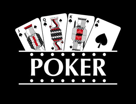 four playing spade cards poker banner black background vector illustration
