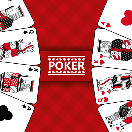 Casino cards play poker red checkered background vector illustration Ilustracja