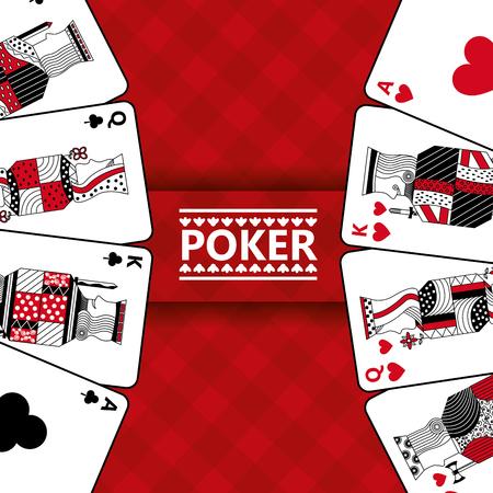 Spielkarten spielen Poker rot karierten Hintergrund Vektor-Illustration Standard-Bild - 96190672
