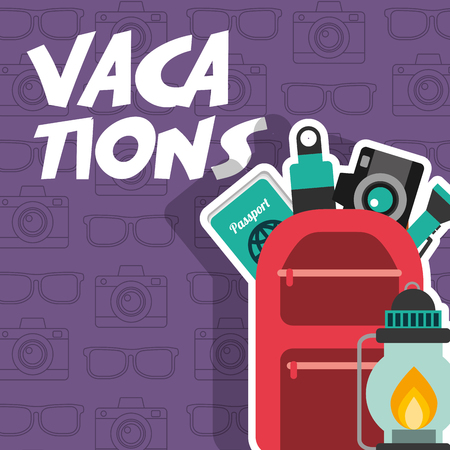Vacations backpack passport camera later poster vector illustration