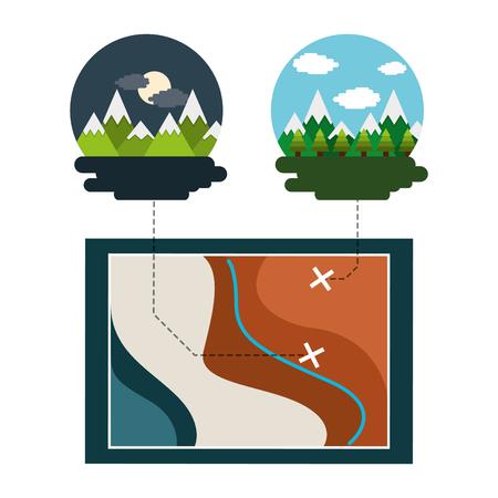 Pap travel vacations night morning mountains trees vector illustration Illustration