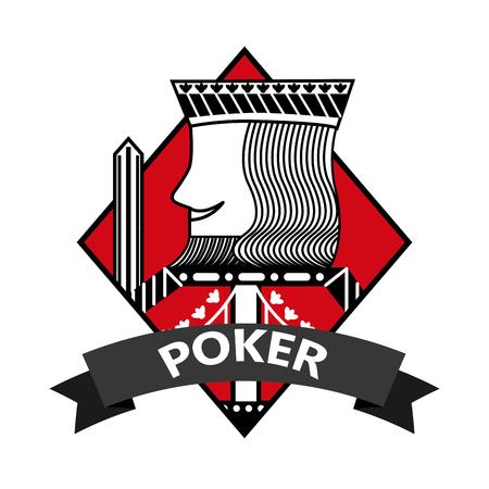 King of diamond card poker ribbon symbol vector illustration
