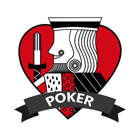 king of heart card poker ribbon symbol vector illustration Archivio Fotografico - 96292643