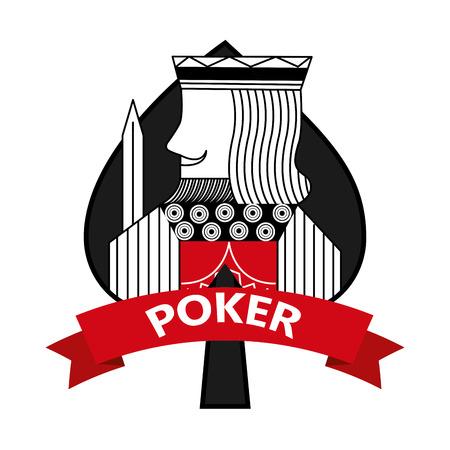 King of spades card poker ribbon symbol vector illustration 向量圖像