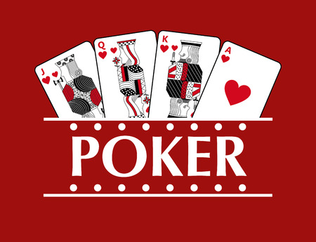 Four playing hearts cards poker banner red background vector illustration
