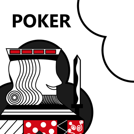 poker card gambling king with sword in sign clubs vector illustration