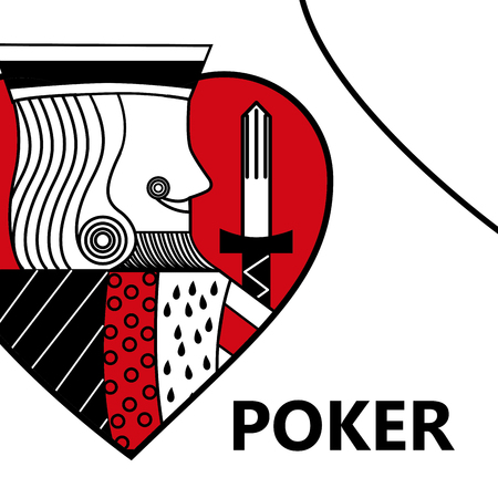 poker card gambling king with sword in sign heart vector illustration