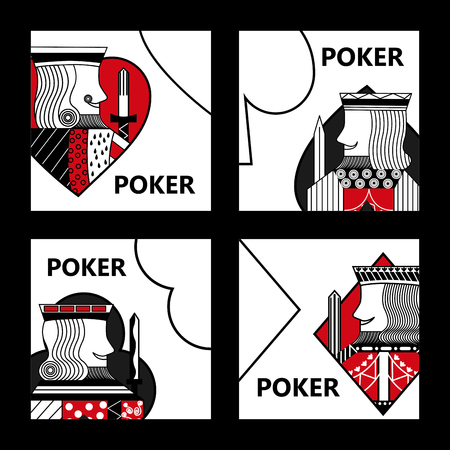Poker karty znak król kasyno hazard zestaw ilustracji wektorowych