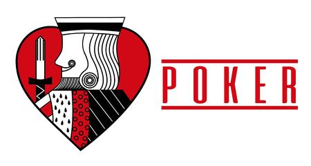 Casino card heart king red poker game banner vector illustration 일러스트