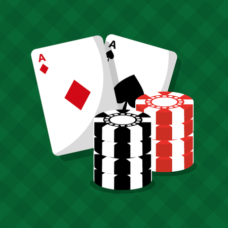 cards of poker and chips game green background vector illustration
