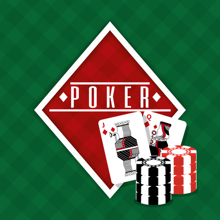 Poker sign diamond cards and chips gamble green background vector illustration