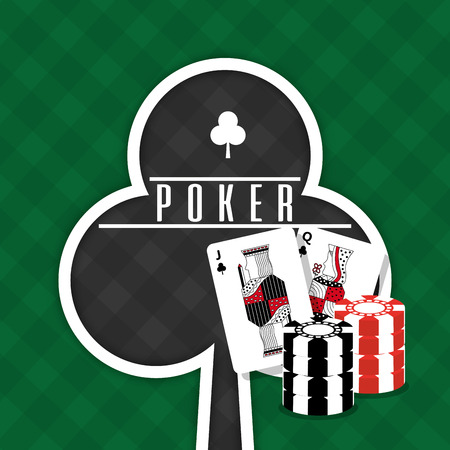 Poker sign club cards and chips gamble green background vector illustration
