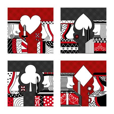 ポーカーカードのカジノベクターイラストのセット