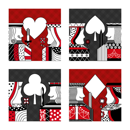 Set of poker cards casino vector illustration