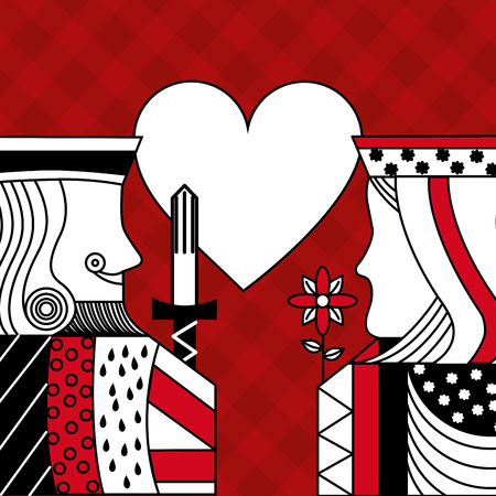 casino poker queen and king heart card game red with checkered background vector illustration
