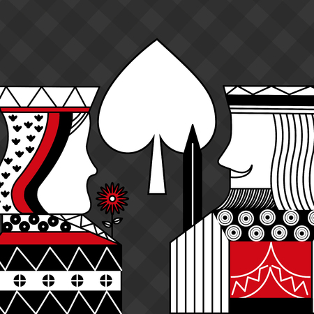 casino poker queen and king spade card game with black checkered background vector illustration
