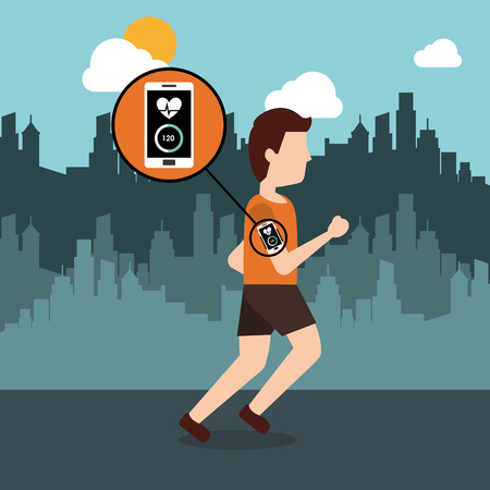 young man running with smartphone heart rate and city background vector illustration