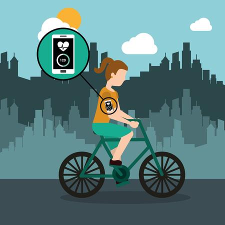 スマートフォンの健康なアプリの都市の背景ベクトルのイラストと自転車に乗っているスポーツ女性