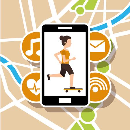 Frau Reiten Skateboard Karte Karte Navigation Vektor-Illustration Standard-Bild - 96196849