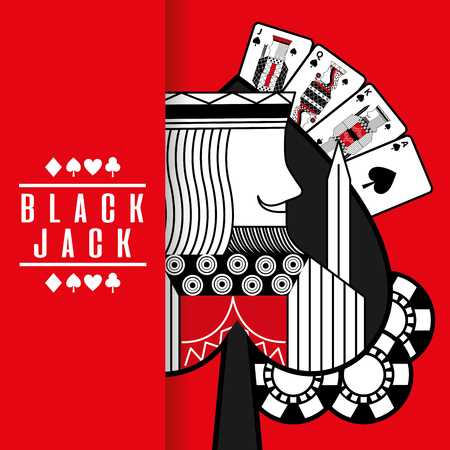 Spade king black jack cards gamble chips red background vector illustration