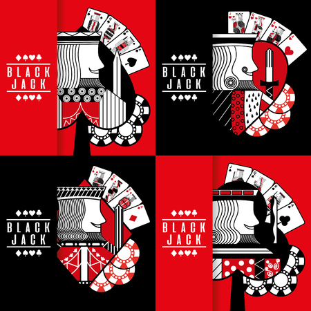 Black jack poker casino gambling king chip collection vector illustration
