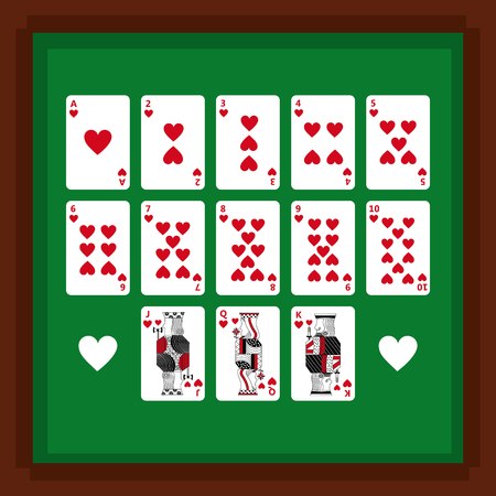 Set of poker playing cards of heart suit on green table vector illustration vector illustration 向量圖像