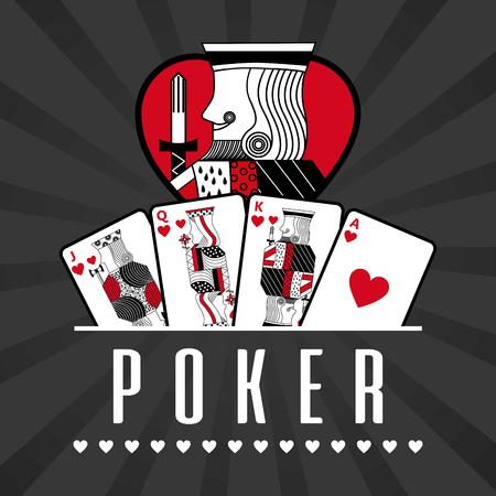 Pont de casino de carte roi roi roi noir rayons fond illustration vectorielle Banque d'images - 96196851