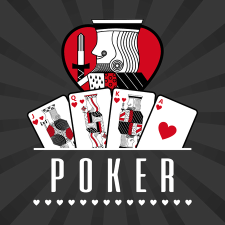 deck of card casino poker king hearts black rays background vector illustration