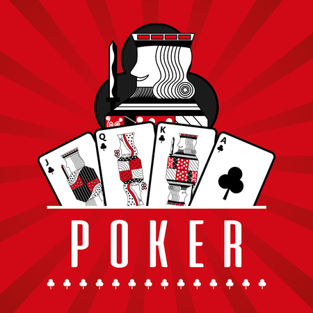 deck of card casino poker king clubs red rays background vector illustration Archivio Fotografico - 96196855