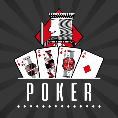 Deck of card casino poker king diamond black rays background vector illustration Vettoriali