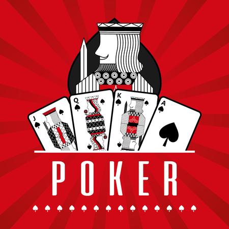 カードカジノポーカーキングスペード赤線背景ベクトルイラストのデッキ
